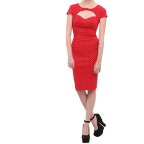 bf6ce10d2 Hot Topic Dresses & Skirts - Hell Bunny red and black polka dot pencil dress
